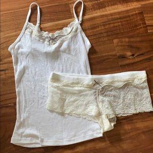 Victoria's Secret lacy tank and short PJ set